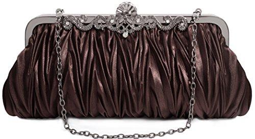 (Pulama Elegant Envelope Clutch Satin Purse Wallet with Vintage Decoration)