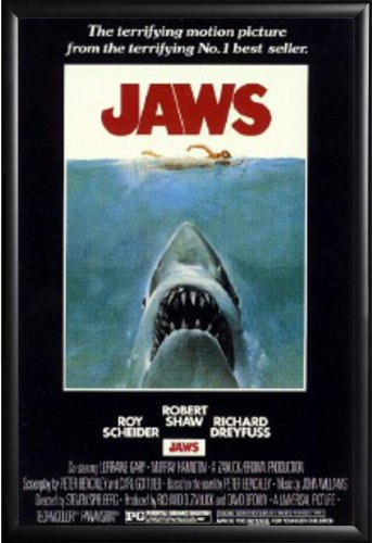 Framed Shark and Swimmer - Jaws 1975 Movie 24x36 Poster in M