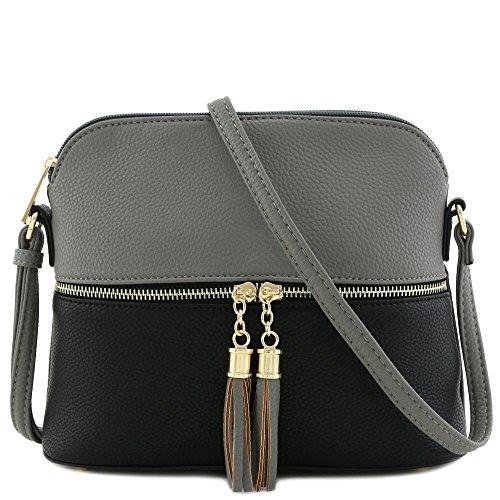 Tassel Zipper Pocket Crossbody Bag (Dark Grey/Black)