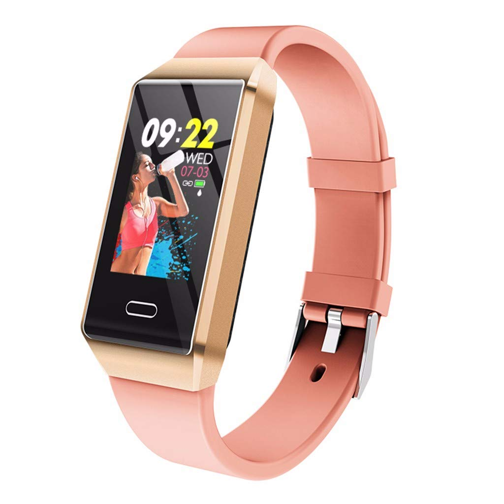 Opef Fashion High Qality Waterproof Smart Watch, Color Screen Sports Fitness Calorie Tracker, Activity Heart Rate Monitor for Android and iOS (Pink) by Opef