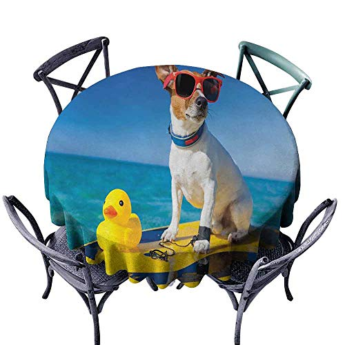 HCCJLCKS Wrinkle Resistant Tablecloth Rubber Duck Dog with Sunglasses and Rubber Duck on Surfboard at Ocean Shore Fun Summer Indoor Outdoor Camping Picnic D67 Multicolor -