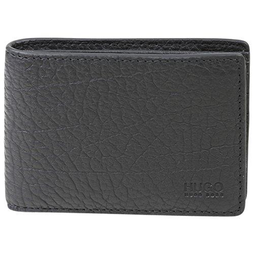 HUGO by Hugo Boss Men's Hugo Leather 6 Credit Card Pocket Wallet, Victorian Leather Wallet Black, One Size
