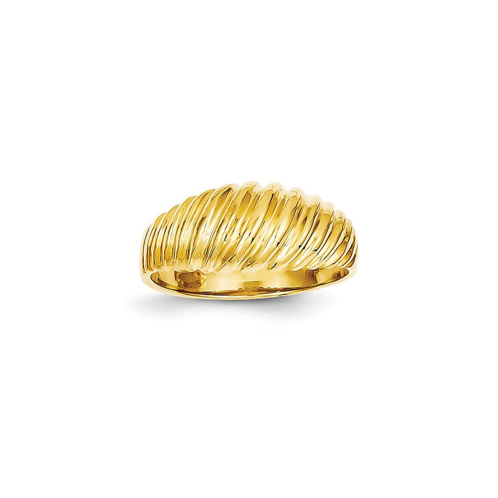 Genuine 14k Yellow Gold Polished Scalloped Dome Ring Size 6