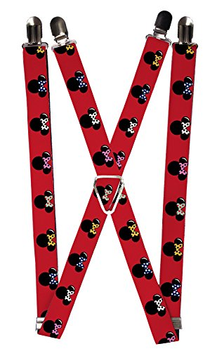 Buckle-Down Suspenders - Minnie Mouse Silhouette Red/black/polka Dot Accessory