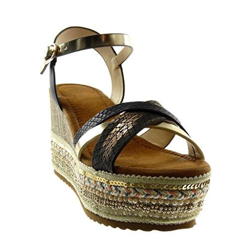 Angkorly Women's Fashion Shoes Sandals Mules - Ankle Strap - Platform - Folk - Fantasy - Multi Straps - Snakeskin Wedge Platform 8.5 cm Black gold CCfj0FO