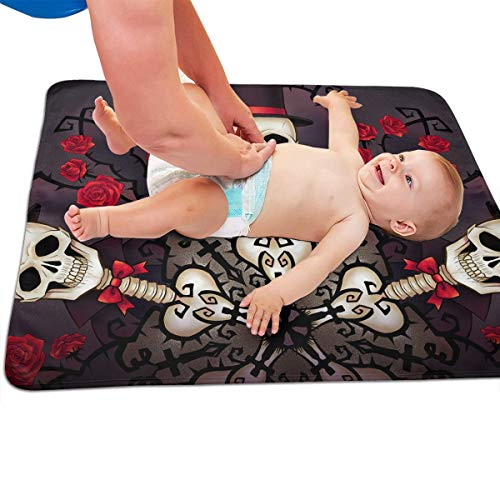 V5DGFJH.B Baby Portable Diaper Changing Pad Skull Gentleman Urinary Pad Baby Changing Mat 31.5