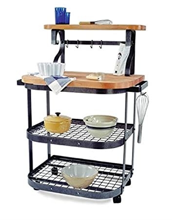 butcher block kitchen carts wheels cart walmart plans baker maple hammered steel