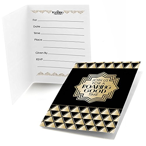 Roaring 20's - Fill In 1920s Art Deco Jazz Party Invitations (8 count)
