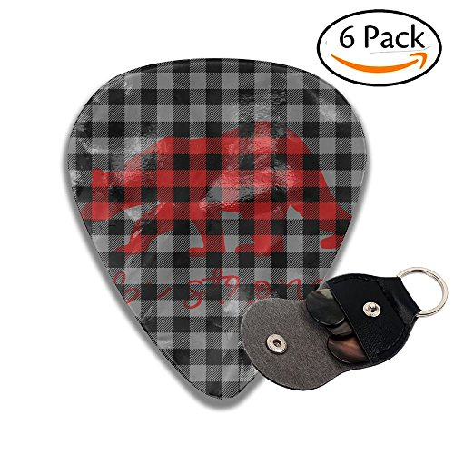 Funny Personalized Plaid Bear Buffalo Bass Thin Heavy Medium Acoustic Guitar Picks Unisex 6 Packs Cigar Box Guitar