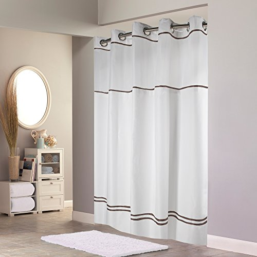 Hookless RBH40ES305 Monterey Shower Curtain with PEVA Liner - White/Brown