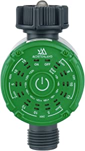 moistenland Watering Hose Timer, Single-Outlet Garden Hose Faucet Timer, Automatic Irrigation System Controller Watering Digital Timer One-Touch Operation (Green)