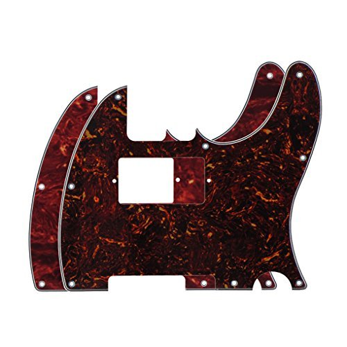 FLEOR 4-Ply 8 Holes TELE Scratch Front Plate Humbucker Style Pickguard for Telecaster Style Guitar Replacement,2pcs Red & Brown Tortoise Shell