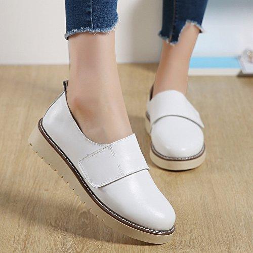 Zapatos Portátiles en Relieve Zapatos Antideslizantes de la Parte Inferior de la Universidad de Los Zapatos Suaves de la Mujer Zapatos Casuales Mágicos , blanco , EUR37