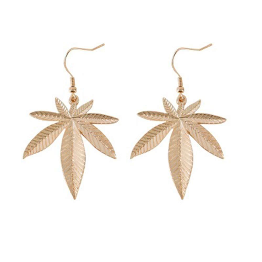 RUIZHEN Gold Marijuana Weed Cannabis Leaf Dangle Earrings