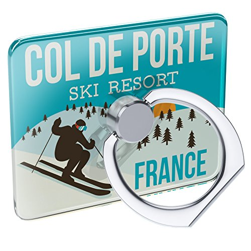 France Porte - Cell Phone Ring Holder Col de Porte Ski Resort - France Ski Resort Collapsible Grip & Stand Neonblond