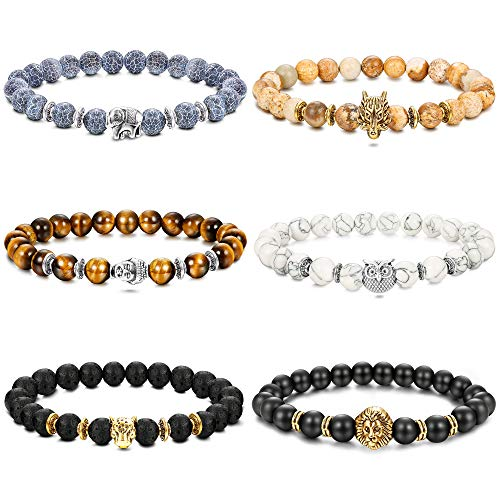 FUNRUN JEWELRY 6PCS Bead Bracelets Set Men Leopard/Dragon/Lion/Panther Charm Lava Rock Natural Stone Bracelet Elastic (Owl Beaded Bracelets)