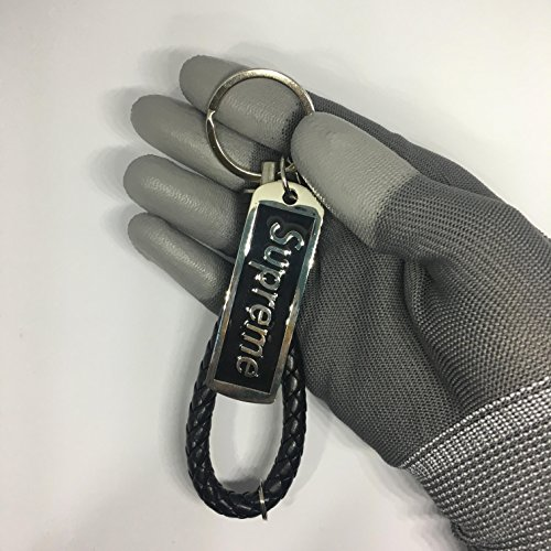 40e367ccfb6b Supreme Keychains Braided Leather Woven Tide Metal Key Chain Ring ...