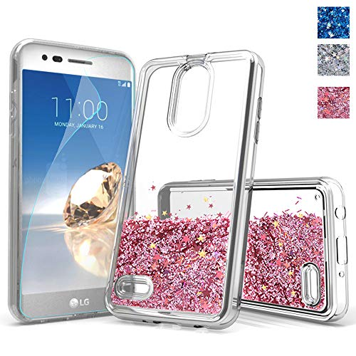 for lg Aristo 2 case,lg Phoenix 4 case,Tribute Dynasty/Fortune 2/K8 2018 Glitter Phone case,DDTKZC Tempered Glass Protector Sparkle The Liquid TPU is Clear case for lg Aristo 2 Plus (HD Rose Gold)