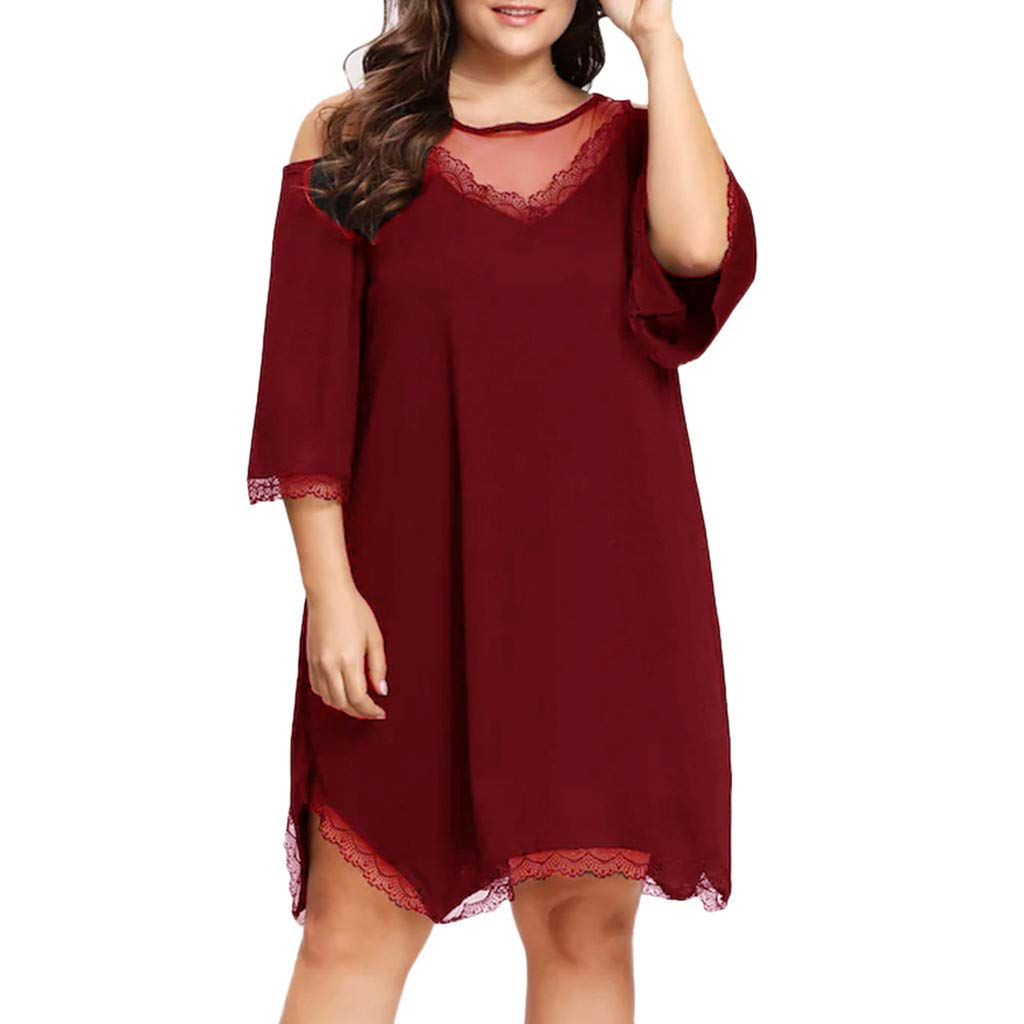 wodceeke Womens Plus Size Mesh V Neck Short Sleeved Lace Stitching Cold Shoulder Loose Dress(Wine,XL)