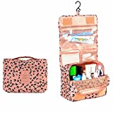 Portable Waterproof Travel Makeup Bag - Lady Color Foldable Organizer Travel Cosmetic Toiletry Bathroom Beach Bag for Women / Men, Shaving Kit with Hanging Hook for vacation (Leopard)