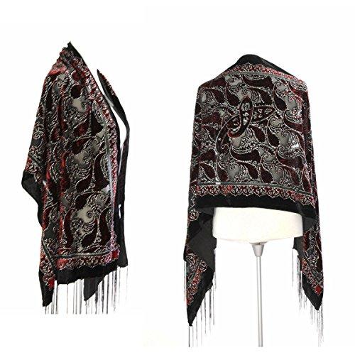 Velvet Beaded Scarf (New Elegant Gorgeous Black & Burgundy Colors Vintage Floral Beaded Silk Burnout Velvet Shawl Wrap)