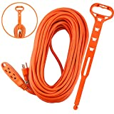 Aurum Cables 75 Feet 3 Outlet Extension Cord 14AWG Indoor/Outdoor Use Orange With Holder - UL Listed