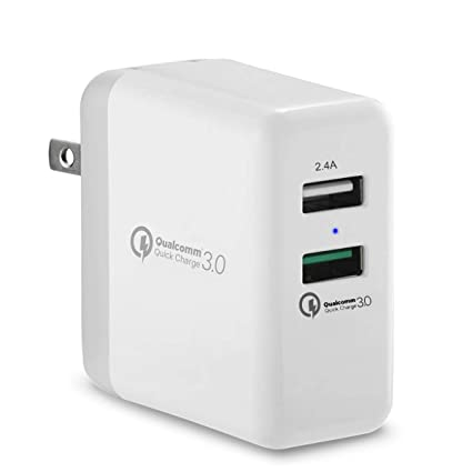 Lrker Quick Charge 3.0 30W Dual Port Fast Portable USB Wall Charger Qualcomm Certified [QC 3.0 + 2.4A] with Foldable Plug for Galaxy S8 Plus S7 Edge ...