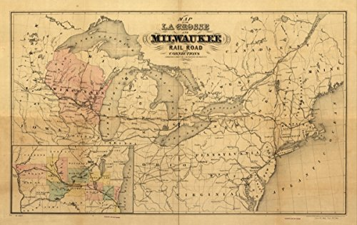 Map: 1855 of the La Crosse and Milwaukee Rail Road and connections. of the northeastern and north-central United States indicating major drainage, larger cities, state boundaries, and the railroad - Online Frames Custom Canada