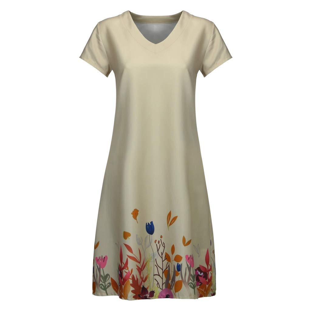 2019 Summer Women Casual Floral Print Dresses,V-Neck Short Sleeve T-Shirt Loose Beach Dresses S-3XL (Khaki, XXL) by Tanlo (Image #3)