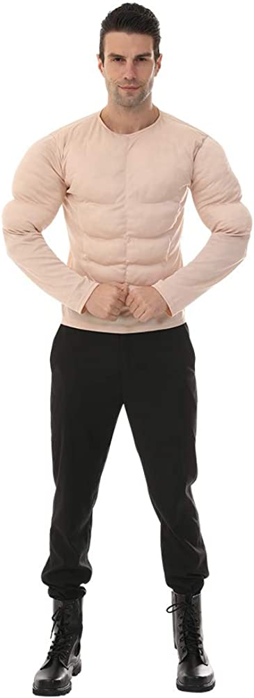 EraSpooky Men Muscle Shirt Bodybuilder Halloween Costume Accessory for Adult Muscle Shirt Padded: Clothing