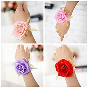 Boutonniere - 4 Colors 1 Pcs Wrist Flowers Bridesmaid Silk Rose Corsages Hand Flower Artificial - Short Pink Moment Heads That Bouquet Ling Neutral Sunflowers Multi Cemetery Eggplant Rustic 30