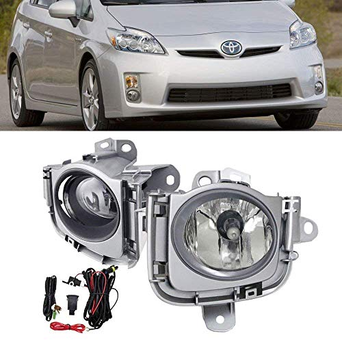 iJDMTOY Complete Set Clear Lens Fog Light Kit For 2010 2011 Toyota Prius w/Fog Lamp Bezel Cover, Switch & Relay