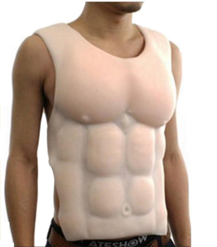 Soft Silicone Fake Muscle Man's Torso Upper Piece Halloween Gift Be Muscle Men