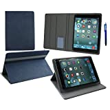Emartbuy® Hipstreet 10.1 Inch Phoenix Tablet Universal ( 9 - 10 Inch ) Dark Blue Premium PU Leather Multi Angle Executive Folio Wallet Case Cover Grey Interior With Card Slots + Blue Stylus