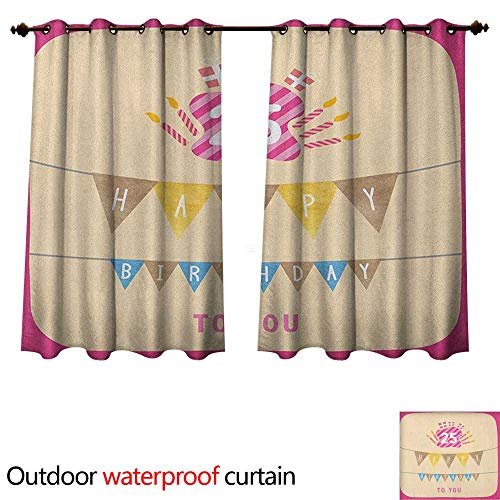 Anshesix 25th Birthday Home Patio Outdoor Curtain Pink Framework Cute Flags Letters Burning Candlesticks Gifts Colorful Print W55 x L72(140cm x 183cm)