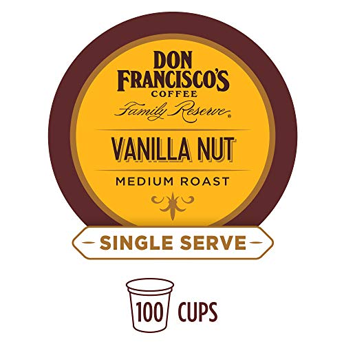 Don Francisco's Vanilla Nut Flavored (100 Pods) Single Cup Coffee Pods, Compatible with Keurig K-Cup Machines ()