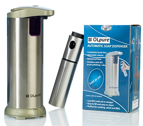 OLpure Automatic Hand Soap Dispenser Touchless Stainless Steel, Brush Polishing, Waterproof Base. Comes with Oil Spray Bottle