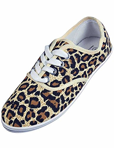 Easy USA Womens Lace up Canvas Plimsol Sneakers Shoes Asian Leopard