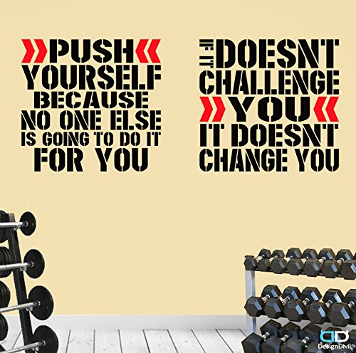2 Pro Gym Exercise Motivational Wall Decal Quotes Great Savings!Push Challenge. (XLarge: Each Decal is 32'' x 30'' (80cm x 75cm)) by DesignDivil