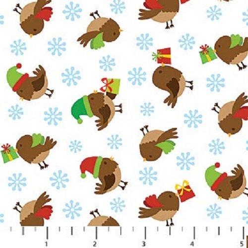 Flannel Northcott Fabric (1 Yard Holiday Hoot Flannel by Deborah Edwards from Northcott Christmas Birds F20334-10)
