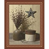 Crocks and Star by Billy Jacobs Country Folk Art Still Life 15x19 in Framed Art Print Picture