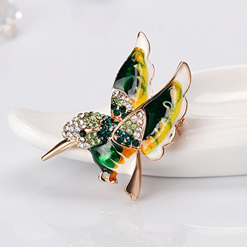 Lovely Flying Hummingbird Brooch Lady Multicolor Sparkling Crystals Animal  Breastpin Pin Christmas Gift