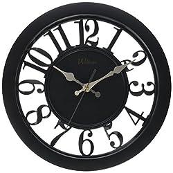 Ashton Sutton Round Quartz Analog Wall Clock, 11-Inch, See Thru Black Case