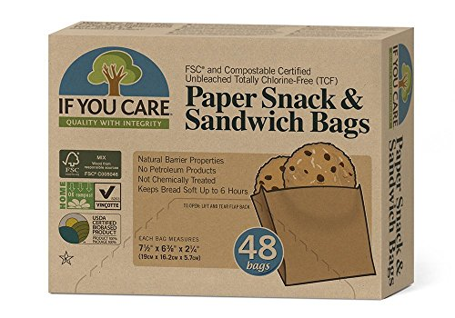 IF YOU CARE Unbleached Sandwich Bags, 48 Count (Paper Sandwich Bags)