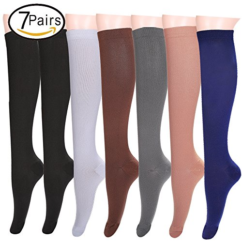 7 Pairs Compression Socks Women and Men Best ,Travel Flight Socks, Fitness & Running,Pregnancy Socks Shin Splints - Below Knee High (Large/X-Large, Assort1)