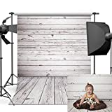 Dobeans 10ft(W) x 10ft(H) Grey Wood Photo Backdrops Vinyl Wooden Wall Background for Children Pictures