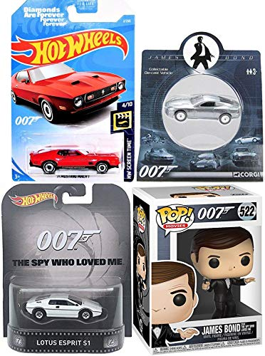 Lotus Spy James Bond Moore Figure & Cars 007 Vinyl Spy who Loved me Pop Character Bundled with Lotus S1 Retro Entertainment + Vanquish & Diamonds are Forever Die-Cast Vehicle Collectibles 4 Items (Esprit Lotus Submarine)