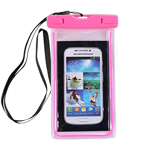 Price comparison product image Urberry Glow in the Dark Floatable Waterproof Case Dry Bag Cellphone Pouch for iPhone 8/iPhone 7 Plus/iPhone 7/iPhone 6/iPhone 6 Plus/iPhone6s/iPhone 5s,Andriod (Pink)