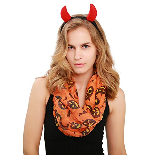MissShorthair Halloween Infinity Scarf Lightweight Loop Holiday Gift Idea (pumpkin)