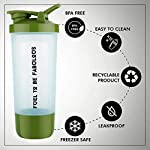 KAVID Protein Shaker Bottle for Protein Mix with Storage Compartment and Stainless Steel Blender Ball for Pre/Post…
